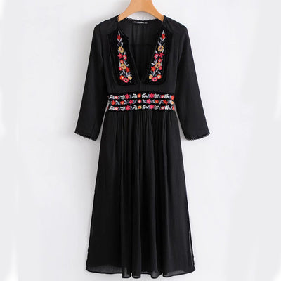 Khale Yose Floral Embroidery Dress V-Neck Sexy Vintage Boho Women Dresses Long Sleeve Cotton Gypsy Hippie Beach Clothing