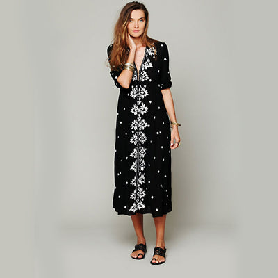 Khale Yose Cotton Summer Dress Long Sleeve Floral Embroidery Bohemian Dresses For Women Ethnic Hippie Chic Style Beach Clothing