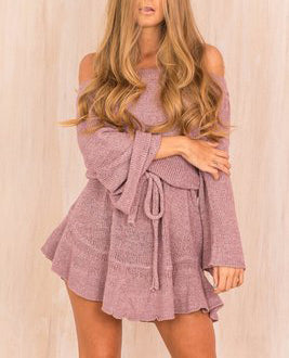 Knitted Casual Shift Autumn Spring Dress Women Flare Sleeve Off Shoulder Tunic Elastic Waist Lace Up Mini Dresses Vestidos