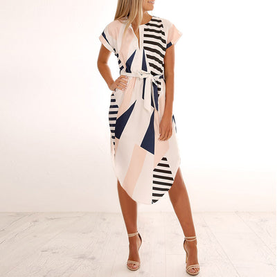 Knowing me New Geometric lemon Printed Dress women Elegant summer Beach Dress Sexy V-neck Short Sleeve Dresses With Belt
