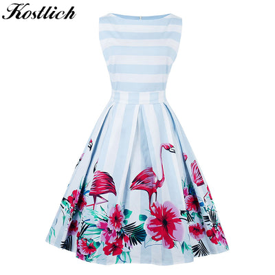 Kostlich Flamingo Print Summer Dress Women Sleeveless Hepburn 50s 60s Vintage Dress Striped Tunic Party Dresses Plus Size