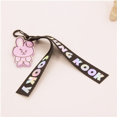 Kpop BTS BT21 Laser Lanyard Bangtan Boys Korean Style ARMY Ribbon Strap Charm Cords Lariat Keychain Pendants Accessories Rope