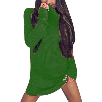 LITTHING Women Winter Dress Knitted Dress Turtleneck Long Sleeve Slim Loose Dress Sweaters Pullovers Plus Size Streetwear