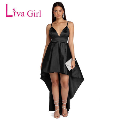 LIVA GIRAL Sexy Mermaid Party Long Backless Dress Women High Low Hem Irregular Maxi Dresses Deep V Summer Female Vestidos