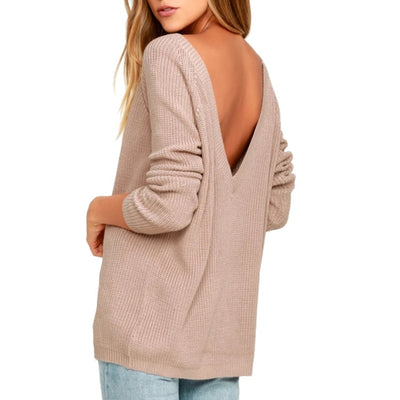 LOGAMI Back V Neck Sexy Sweater Women Pullover Knitted Long Sleeve Spring Autumn Sweaters And Pullovers