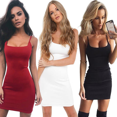 LOGAMI Spaghetti Strap Backless Dress Women Summer Autumn Sexy Mini Dresses Ladies Bodycon Dress Black White Red Vestidos