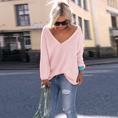 LOSSKY Sexy Deep V Neck Long Sleeve Thin Loose Autumn Sweater Women Plus Size Knitted Pink Black Pullovers Pull Femme Hiver