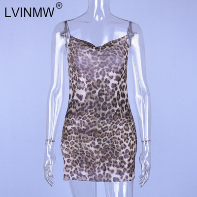 LVINMW Sexy Mesh See Through Leopard Printed Mini Dress Summer Women Spaghetti Straps Backless Party Club Side Split Dress