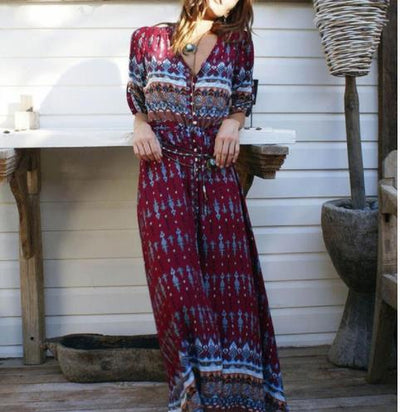 LZJ Women Bohemia V-neck Three Quarter Sleeve Floral Print Ethnic Autumn Beach Boho Long Dress Retro Hippie Vestidos Boho Dress