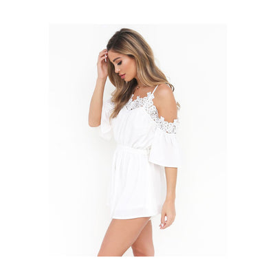Lace Chiffon Spaghetti Strap V-Neck Sexy Jumpsuit Bodysuit Women Playsuit Summer Beach Party bodysuit