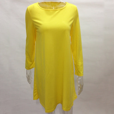 Lace Girl Casual Loose Elegant Women Dresses Fashion Yellow O-neck Long Sleeve Shift Short Dress Plus Size Women Mini Dress