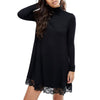 Lace Hem Turtle Neck Shift Knit Dress