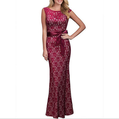 Lace Pinup Fish tail Maxi Dress New Summer Women Sexy Belted Backless Sleeveless Long Party Dresses Plus Size Vestido De Renda