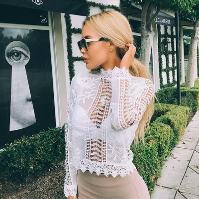 Lace See through Crop Shirt Women Blouse Autumn One Neck Long Sleeve Sexy Ladies Tops Back Blouse