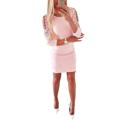 Lace Women Dress Cold Shoulder Long Sleeve Sexy Bodycon Dress O Neck Hollow Out Short mini Package Hip Female Vestidos SJ128F