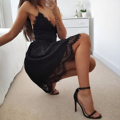 Lace-up Backless Spaghetti Strap Sexy Lace Dress Women Sleeveless V-Neck Loose Summer Dress White Black Elegant Party Dresses