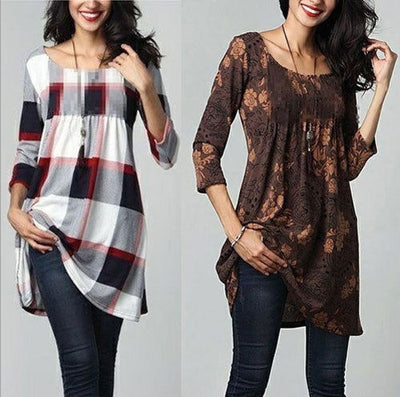 Ladies casual women blouse print three quarter Sleeve Cotton Casual long Blouse Shirt Tunic women Tops plus size
