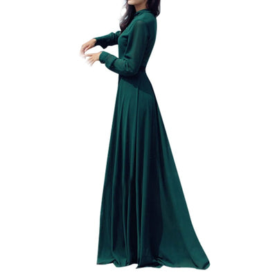 Lady Chiffon Evening Party Long Sleeve Prom Festival Long Maxi Dresses Women Long Dress With