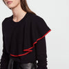 Lemon Autumn Women Knitted Sweaters Split O Neck Ruffles Pullovers Black Full Sleeve Jumper Female Casual Sweet Tops