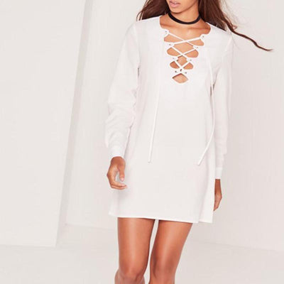 Lemon Sexy V Neck Lace Up White Brief Mini Dress Natural Bodycon Dress Clubwear Long Sleeve Solid Casual Shift Dress