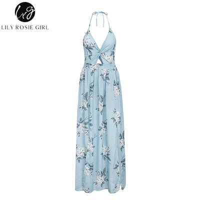 Lily Rosie Girl Backless Beach Chiffon Women Dress Halter V Neck Crop Bow Maxi Dress Split Boho Floral Sexy Dress Vestidos