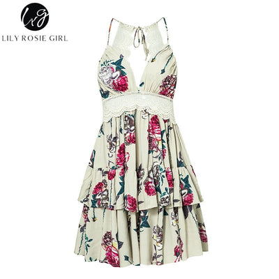 Lily Rosie Girl Backless Lace Summer Dress Spaghetti Strap Boho Women Dress Floral Beach Dress Vestidos
