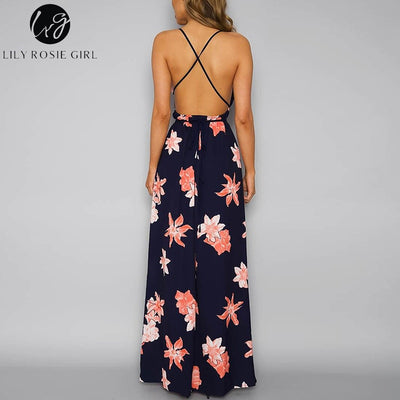 Lily Rosie Girl Boho V Neck Backless Women Long Dress Chiffon Split Floral Print Summer Dress Lace up Beach Maxi Vestidos