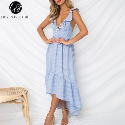 Lily Rosie Girl Deep V Neck Backless Beach Dress Ruffle Summer Dress Blue Asymmetrical Casual Dress Maxi Long Vestidos
