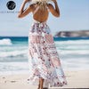 Lily Rosie Girl Sexy White Floral Halter Backless Dress Women Boho Summer Beach Split Maxi Long Bow Hollow Out Dresses Vestidos