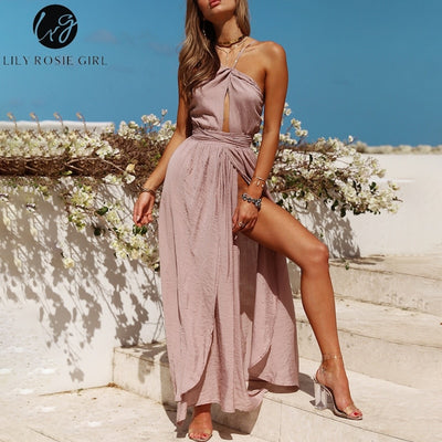 Lily Rosie Girl Sleeveless Halter Sexy Maxi Dresses Summer Backless Party Long Dress Women Split Elegant Beach Red Vestidos