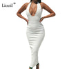 Liooil Black White Halter Sexy Dress Club Wear Deep V Neck Backless Maxi Dress Women High Waist Bodycon Party Long Dresses
