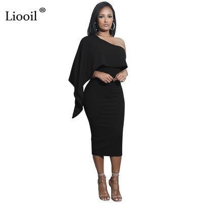 Liooil One-Shoulder Party Dress Ruffles Bodycon Backless Elegant Midi Dress Black White Club Party Dresses For Women Robe Sexy