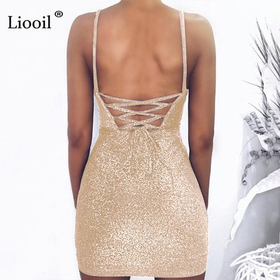 Liooil Sexy Bright Black Backless Mini Dress Women Summer Spaghetti Strap Bodycon Dress Lace-Up High Waist Party Dresses