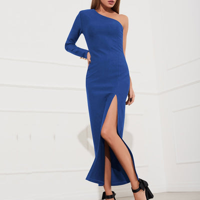 Lipswag Women Sexy One Shoulder Slit Party Dresses Summer Long Sleeve Backless Maxi Dress 2XL Elegant Bodycon Dress Vestido