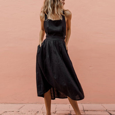 Lipswag Sexy Backless Criss Cross Pleated Midi Dress Women Summer Off Shoulder Sleeveless Bow Sundress Casual Beach Boho Dress