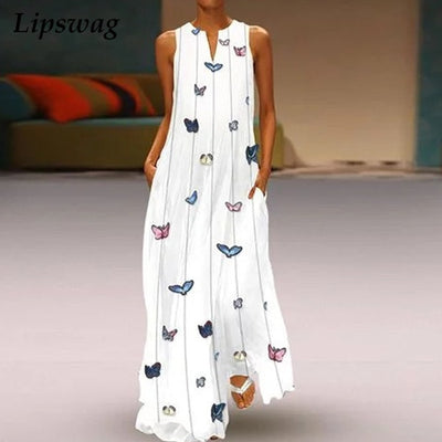Lipswag Sexy V Neck Women Vintage Butterfly print Dress Summer Sleeveless Pockets Dress Casual Loose Boho Maxi Long Dresses