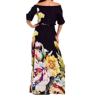 Liva Girl Off Shoulder Summer Maxi Beach Dress Plus Size Women Tunic Casual Long Boho Dress Runway Hippie Chic Clothing mp128.