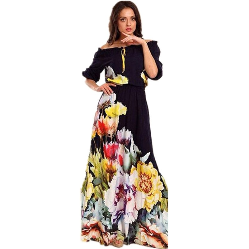 af7688af47 Liva Girl Off Shoulder Summer Maxi Beach Dress Plus Size Women Tunic Casual Long  Boho Dress