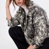 Liva Vintage Snake Print Jacket Women Coats Zipper Motorcycle Jackets Long Sleeve Coat Female Outerwear Casaco Feminine Jackets