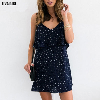 Liva girl Summer Dress Women Plus Size S-2XL Vintage Boho Sexy Backless Sarafan Dresses Chiffon Casual Blue White Dress