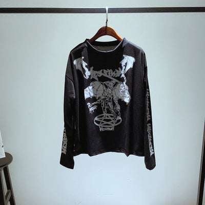 Long Sleeve Tshirts Cotton Women Gothic Punk Black Bat Ghost Printing Loose Tops Tumblr T Shirt
