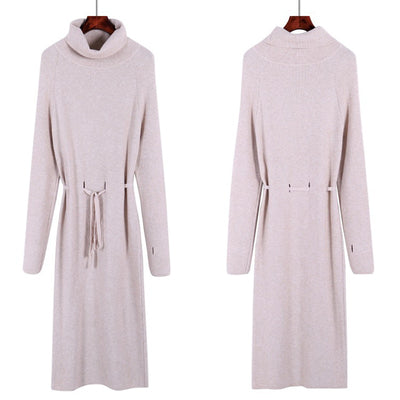 Loose Sweater Long Dress Women Autumn Winter Hole Long Pullover Knitted Dress Warm Sweaters Pull Lace Up Jumpers oversize
