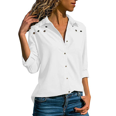 Lossky White Blouse Women Solid Autumn Office Womens Tops And Blouses Plus Size Long Sleeves Casual Blouse Camisa Feminina
