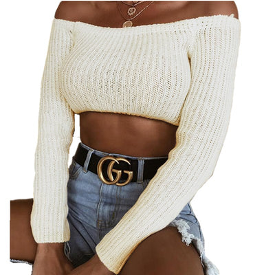 Lossky Women Autumn Sweater Long Sleeve One Shoulder Sexy Black Sweater New Knit Shirt Belly Navel Sweater Women