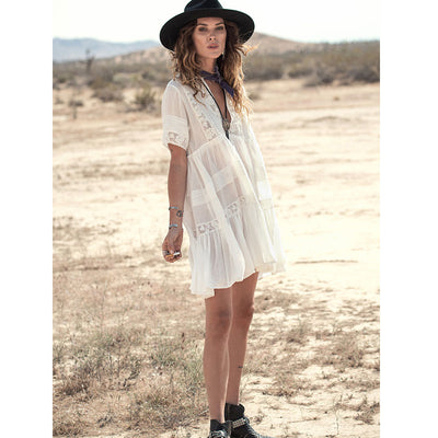Luckeytimes Casual Loose Summer Dress Women Chic V-Neck Maxi White Lace Dresses Hippie Gypsy Style Beach Boho Vestidos SML