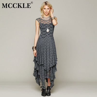 MCCKLE Women Asymmetrical Lace Maxi Dress Summer Fashion Hippie Style Boho Dress Sexy Hollow out Lace Plus Size Bohemian Dress
