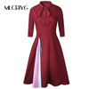 MLCRIYG Spring Office Lady Dress Vintage Style A Line Evening Party Women Half Sleeve Stand Neck Business Bowknot dress