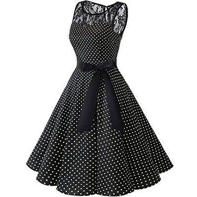 MUQGEW 50S 60S Clothing Cotton Women Sleeveless Polka Dot Lace Hepburn Vintage Swing High-Waist Pleated Dress vestidos de festa