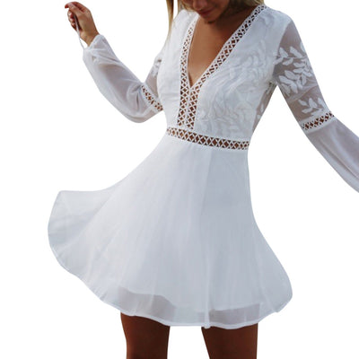 MUQGEW Dress Female Women Solid V-Neck Lace Patchwork Long Sleeve Backless Party Bandage Mini Dress vestidos de fiesta