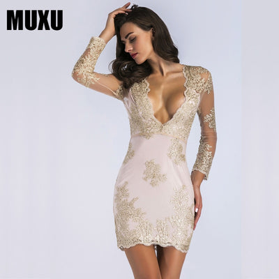MUXU summer embroidery dress elegant patchwork women dress gold jurk moda feminina backless dress womens clothing long sleeve